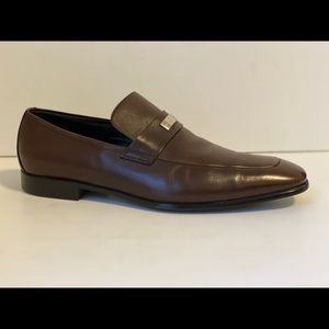 GUCCI MEN`S DARK BROWN LEATHER LOAFERS SHOES